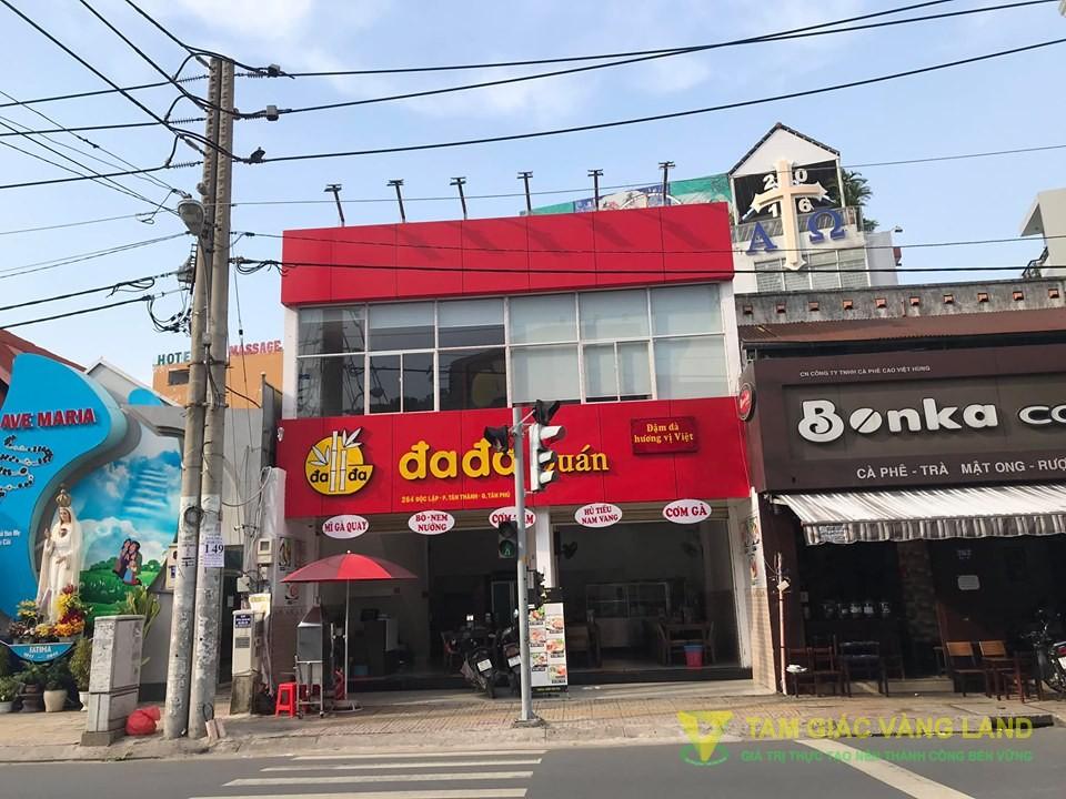 Cho thuê nhà mặt tiền đường Độc Lập, Phường Tân Thành, Quận Tân Phú, DT 8.26x10m, 1 trệt, 1 lầu, Giá 60 triệu/tháng