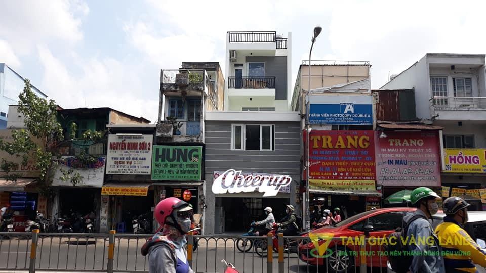 Cho thuê nhà 2 mặt tiền trước sau 5x17m 4 tầng 284 Lý Thái Tổ, P1, Q3