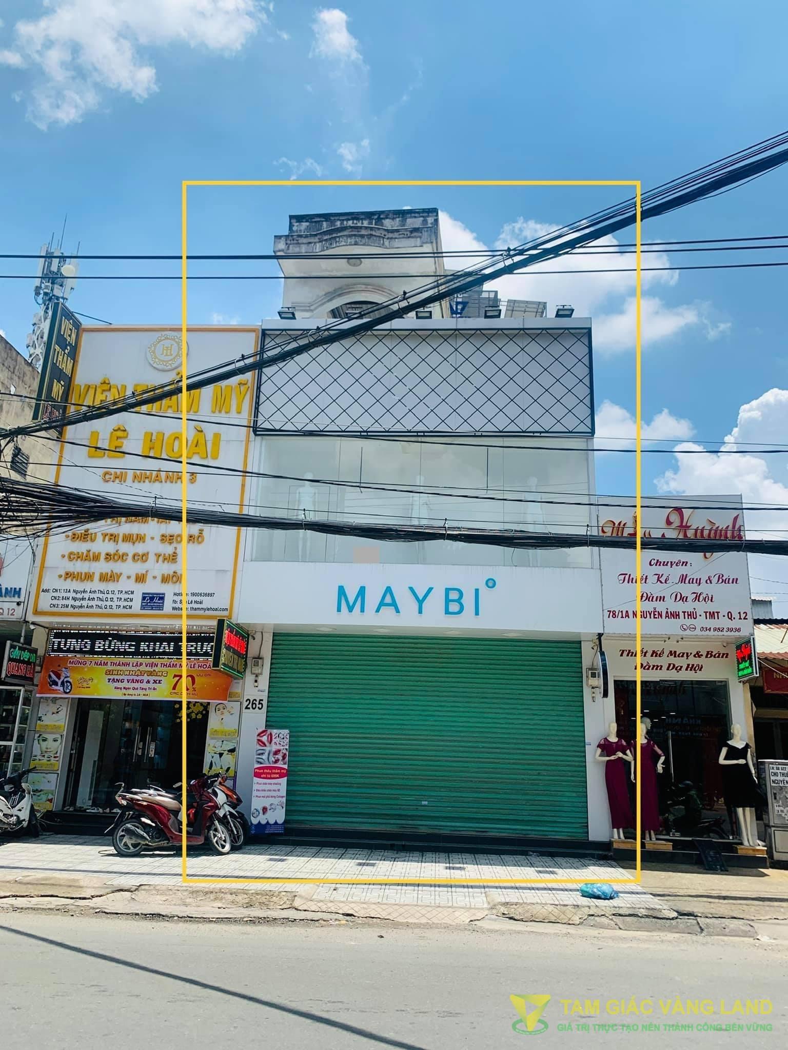 Cho thuê nhà mặt tiền đường Nguyễn Ảnh Thủ, Phường Trung Mỹ Tây, Quận 12, DT 6.5x20m, 1 trệt 2 lầu, Giá 65 triệu/tháng