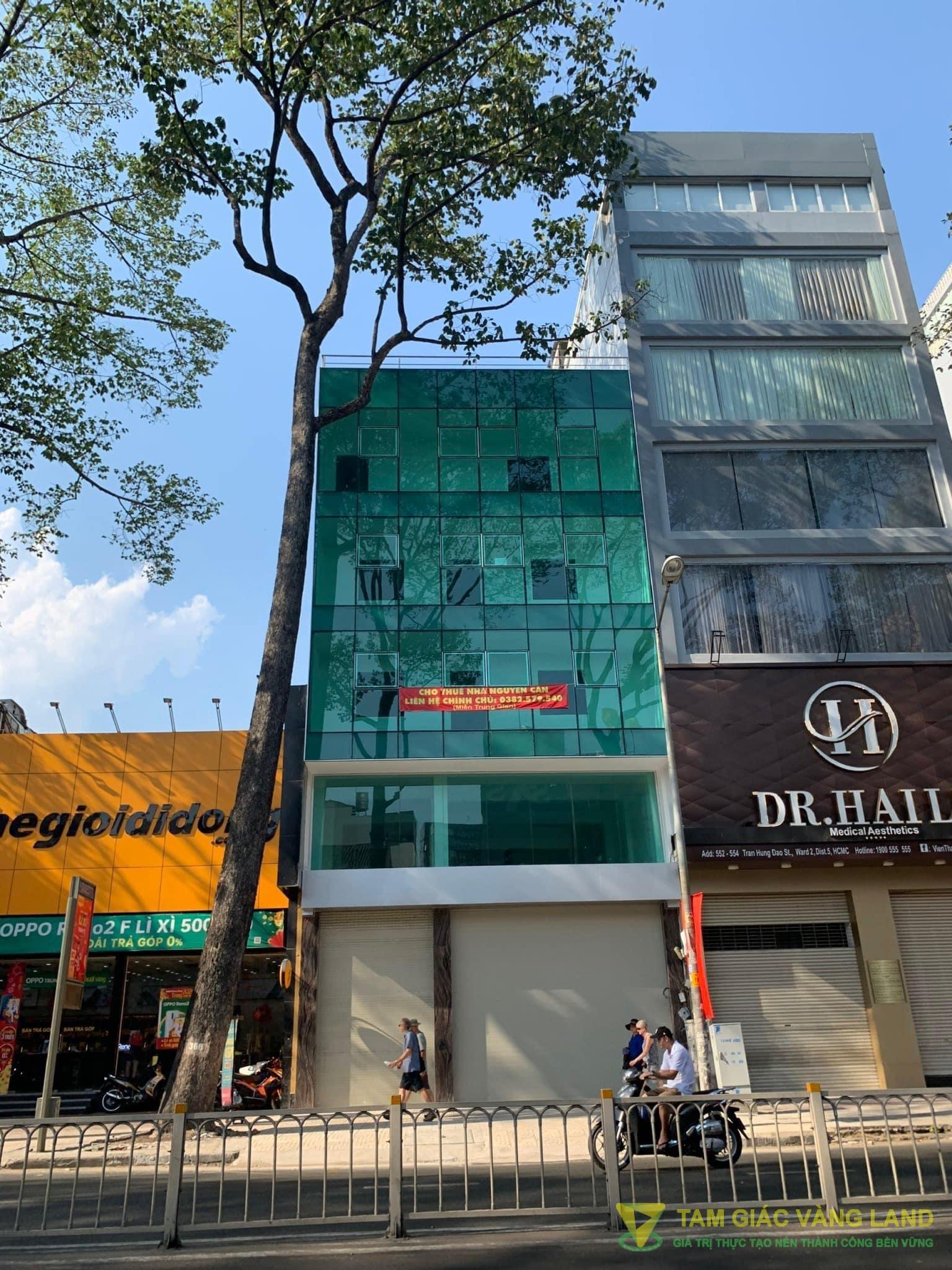 Cho thuê nhà mặt tiền đường Trần Hưng Đạo, Phường 2, Quận 5, DT 8.5x17.5m, 1 hầm 1 trệt 4 lầu, Giá 240 triệu/tháng
